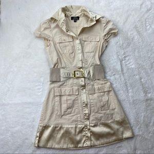 Bebe Cream T Shirt Dress W Belt